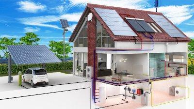 Querschnitt Haus mit Stromverbrauchern und Stromerzeugungsanlagen